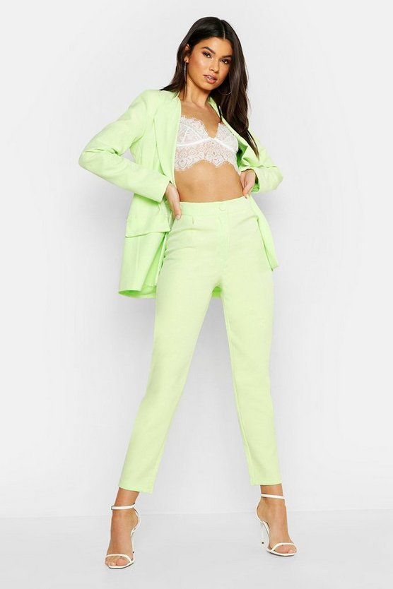 Lime Woven Oversized Button Tapered Trouser