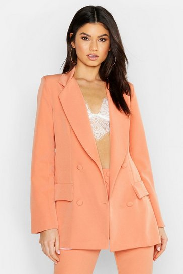 Womens Coral Woven Double Breasted Pocket Blazer