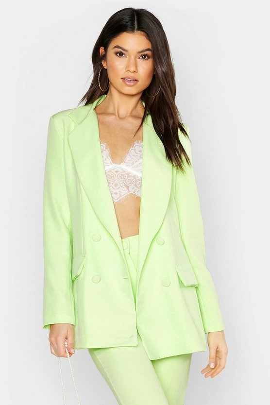 Lime Woven Double Breasted Pocket Blazer
