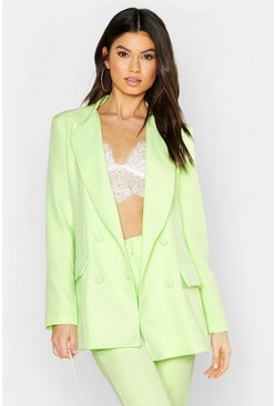 Womens Lime Woven Double Breasted Pocket Blazer
