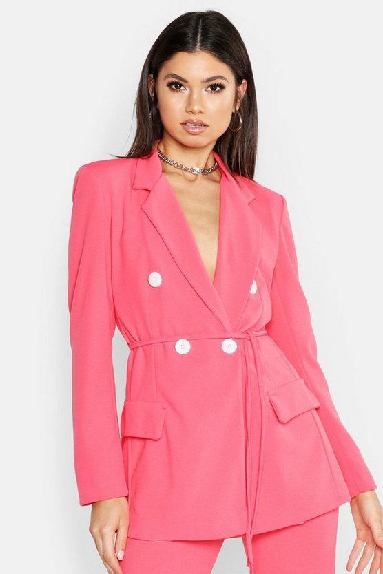 Womens Hot pink Double Breasted Tie Belt Blazer