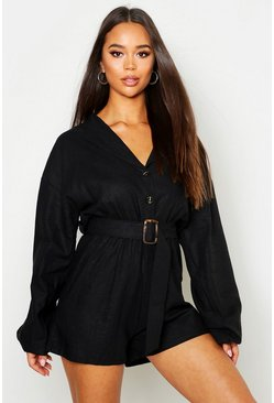 Black Linen Button Detail Belted Playsuit