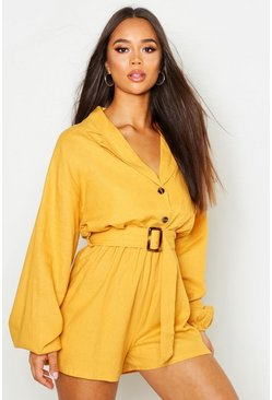 Womens Mustard Linen Button Detail Belted Playsuit