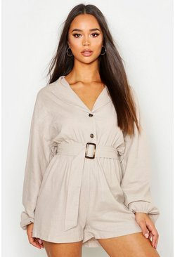 Stone Linen Button Detail Belted Playsuit