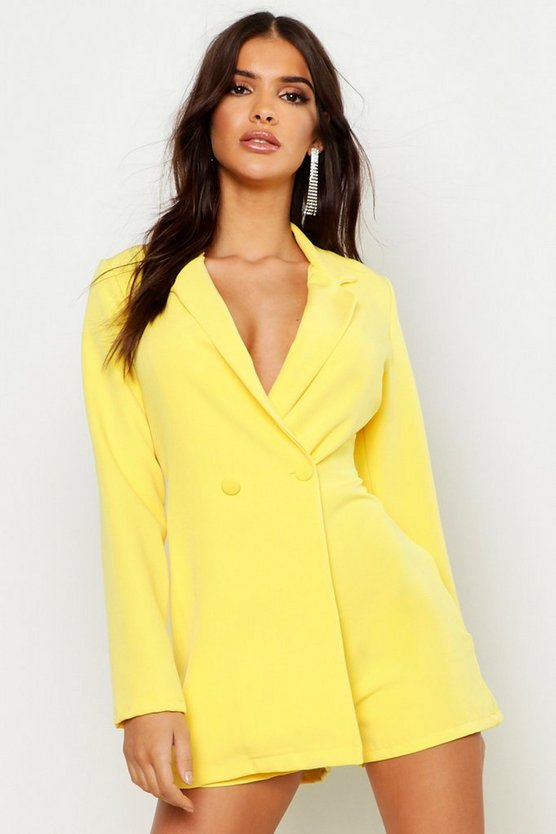 Yellow Woven Blazer Playsuit