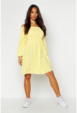Womens Yellow Woven Ditsy Sheered Bardot Skater Dress