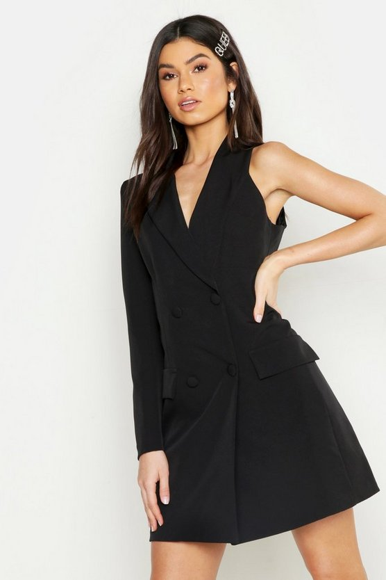 Woven One Sleeve Covered Button Blazer Dress