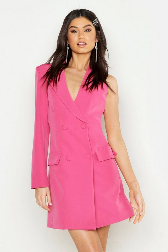 Womens Hot pink Woven One Sleeve Covered Button Blazer Dress
