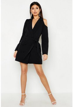 Womens Black Woven Cut Out Shower Blazer Dress
