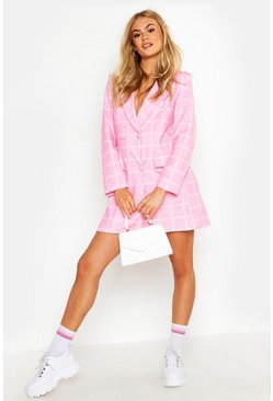 Womens Pink Checked Double Breasted Blazer Dress