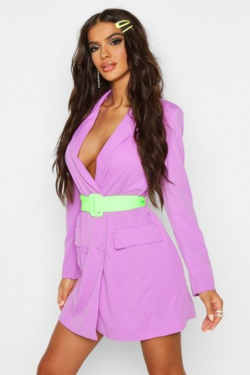 Womens Purple Double Breasted Contrast Belt Blazer Dress
