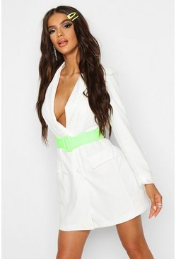 Dam White Double Breasted Contrast Belt Blazer Dress