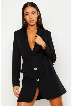 Womens Black Self Belt Blazer Dress