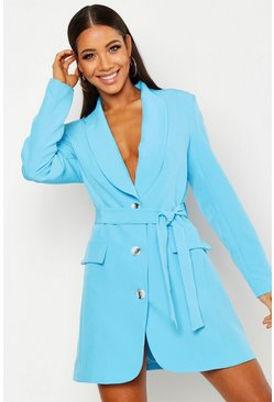 Womens Blue Self Belt Blazer Dress