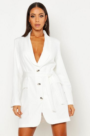 Womens Ivory Self Belt Blazer Dress