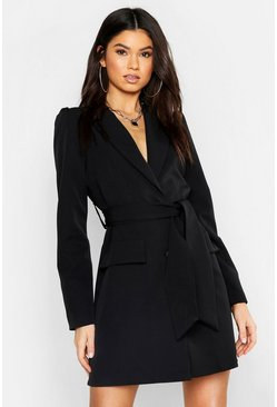 Womens Black Woven Belted Blazer Dress