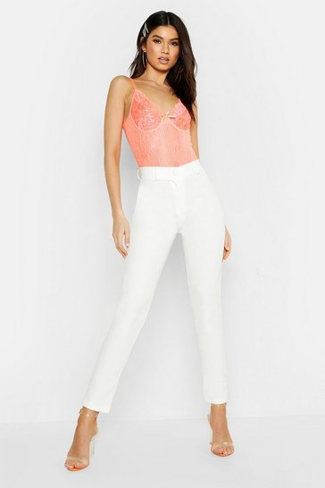 Womens Ivory Tapered Leg Trousers
