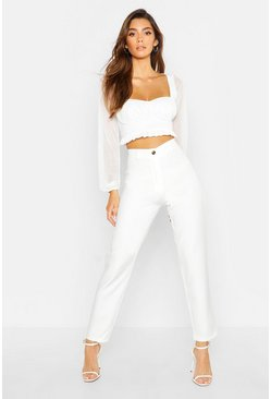 Womens Ivory Tapered Trouser