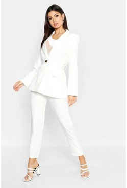Womens Ivory Contrast Button Belted Blazer