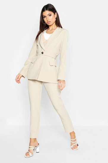 Womens Stone Contrast Button Belted Blazer