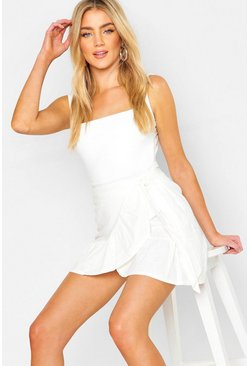 Womens White Linen Ruffle Wrap Skirt