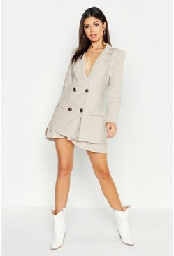 Womens Stone Linen Double Breasted Blazer