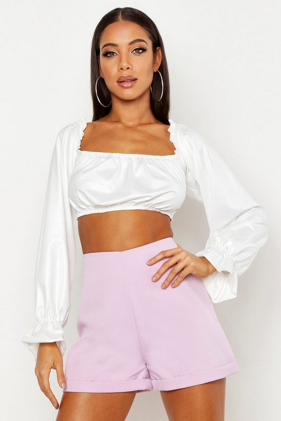 Lilac Woven Turn Back Tailored Short