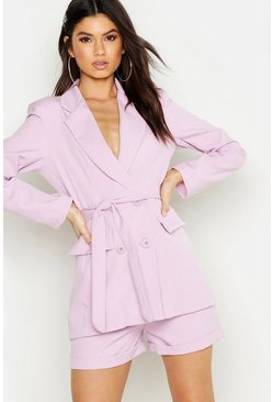 Womens Lilac Woven Double Breasted Tie Belt Blazer