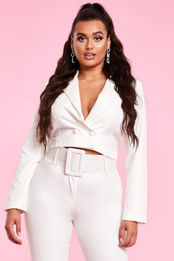 Womens Ivory Cropped Double Breasted Blazer