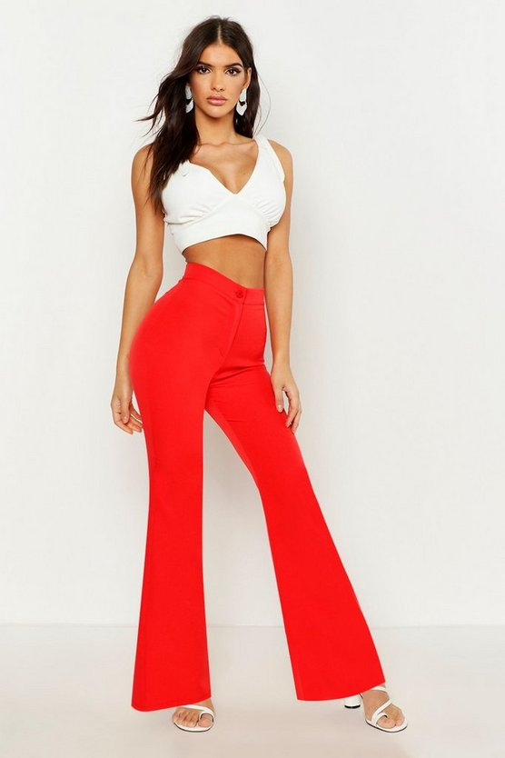 Womens Red Flared Longline Trouser