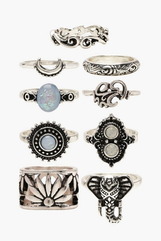 Womens Silver Blue Stone Boho 9 Ring Pack