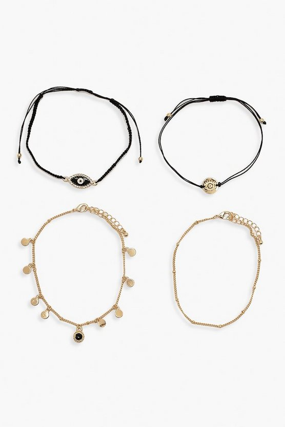 Black Diamante Evil Eye Bracelet Pack