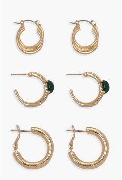 Womens Gold Diamante Statement Hoop Multipack