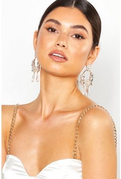 Womens Gold Statement Diamante & Bead Circle Earrings