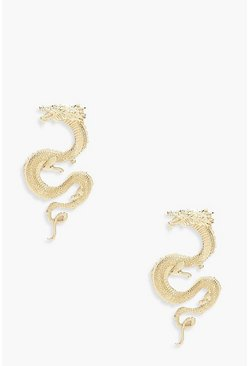 Womens Gold Dragon Statement Earrings
