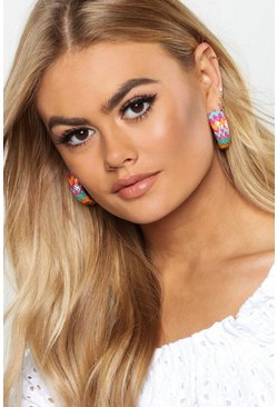 Womens Gold Multi Colour Zig Zag Hoop Earrings