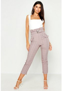 Brown Checked Paper Bag Belted Trouser