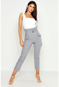 Womens Grey Checked Paper Bag Belted Pants