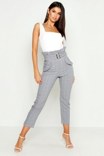 Womens Grey Checked Paper Bag Belted Trouser
