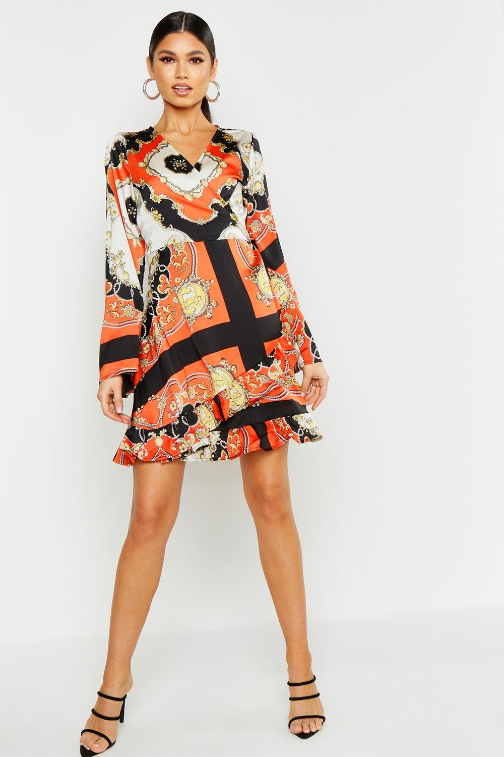 1960s Mad Men Dresses and Clothing Styles Scarf Print Wrap Dress  AT vintagedancer.com
