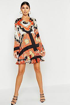 70s Dresses – Disco Dresses, Hippie Dresses, Wrap Dresses Scarf Print Wrap Dress $52.00 AT vintagedancer.com