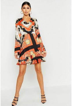 Womens Orange Scarf Print Wrap Dress