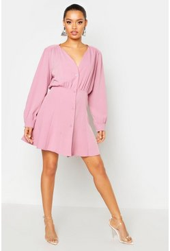 Womens Mauve Button Through Volume Sleeve Smock Dress