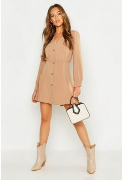 Womens Taupe Button Through Volume Sleeve Smock Dress