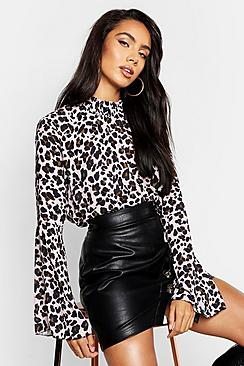 Sheered High Neck Flare Sleeve Leopard Print Blouse