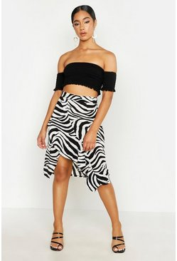 Womens White Zebra Print Ruffle Wrap Skirt