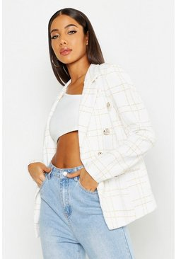 Womens White Check Military Button Blazer