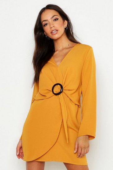 Womens Mustard Woven V Neck Wrap Buckle Dress
