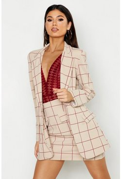 Womens Stone Window Pane Check Pocket Detail Mini Skirt
