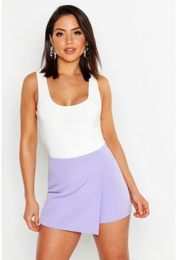 Womens Lilac Woven Wrap Front Short